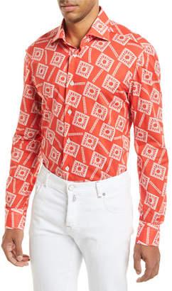 Kiton Floral-Print Long-Sleeve Shirt, Coral