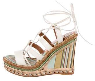 Valentino Leather Lace-Up Wedges