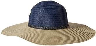 Rampage Women's Two Tone Sunhat with Metalic Faux Leather Braided Band