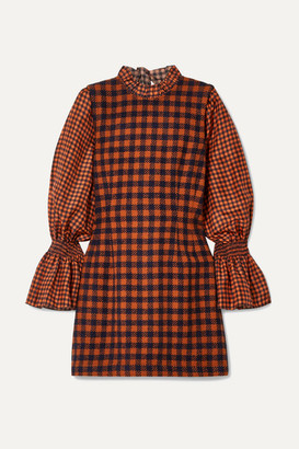Sea Ethno Pop Checked Wool-blend And Silk Mini Dress - Orange