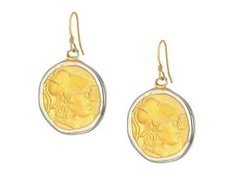 Kenneth Jay Lane Rhodium/Satin Gold Coin Fishhook Earrings