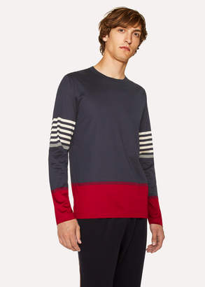 Paul Smith Men's Navy And Burgundy Cotton Long-Sleeve T-Shirt