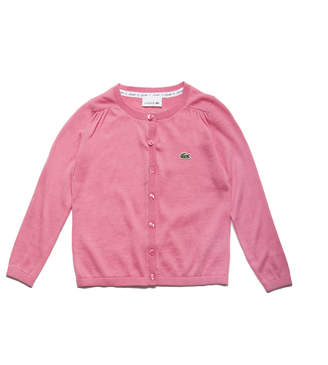 Lacoste Girls' Buttoned Cotton And Wool Blend Jersey Cardigan
