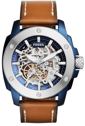Fossil Machine Skeleton Leather Strap Watch, 45Mm $255 thestylecure.com