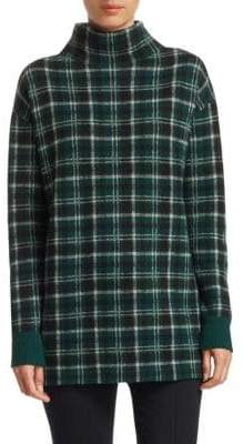 Akris Punto Plaid Cashmere& Wool Funnelneck Sweater