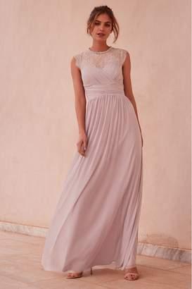 Lipsy Elsa Lace Sleeve Mesh Maxi Dress - 12 - Purple