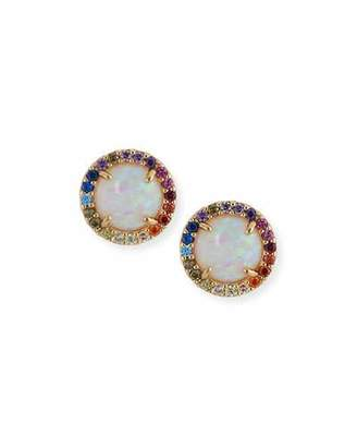 Tai Manmade-Opal Stud Earrings with Rainbow Halo