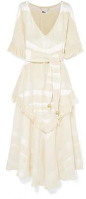 Lisa Marie Fernandez Laura Fringed Tiered Cotton-gauze Maxi Dress