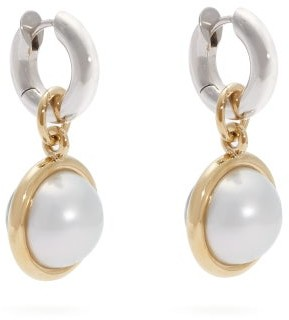 Spinelli Kilcollin Galina Silver, 18kt Gold & Pearl Hoop Earrings - Womens - Black