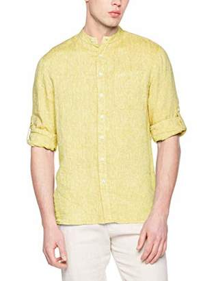 Isle Bay Linens Men's Standard-Fit 100% Linen Long-Sleeve Band Collar Woven Shirt