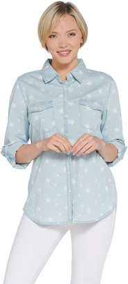 Denim & Co. Chambray Star Print Button Front Long- Sleeve Shirt