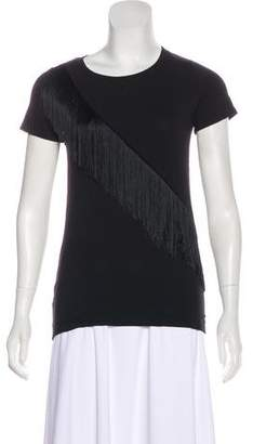 Flavio Castellani Fringe-Accented Short Sleeve Top w/ Tags