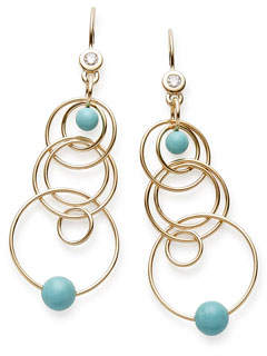 Ippolita 18k Gold Nova Mini Jet Set Turquoise & Diamond Dangle Earrings