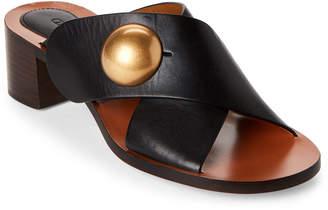 Chloé Black Crisscross Block Heel Sandals