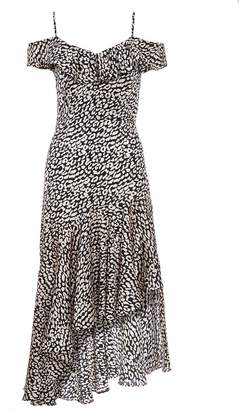 Quiz TOWIE Black and White Leopard Cold Shoulder Frill Dress