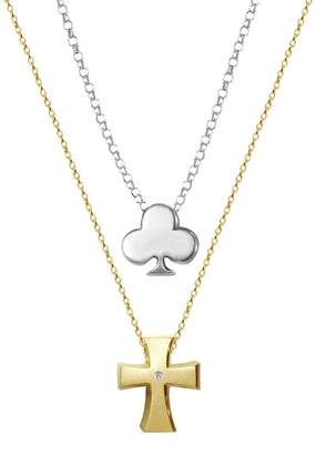 Alex Woo Little Faith 14K Yellow Gold Diamond Cross & Sterling Silver Club 2-Piece Necklace Set - 0.01 ctw