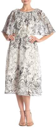 Gabby Skye Floral Print Clip Dot Midi Dress