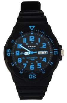 Casio Men's Sport Analog Blue-Accented Dive Watch, Black Resin Strap