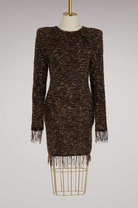 Balmain Fringed tweed short dress