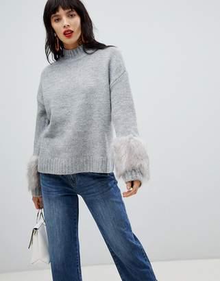 Vero Moda High Neck Sweater With Faux Fur Cuffs