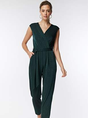 9d5c9ff5b2 Wallis Petite Slinky Wrapped Belted Jumpsuit - Green