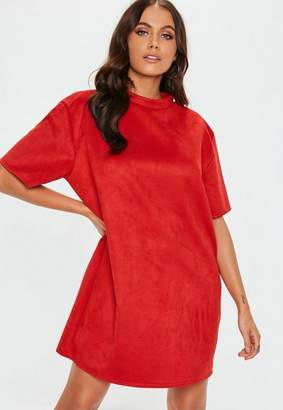 Missguided Red Faux Suede Oversized T Shirt Dress