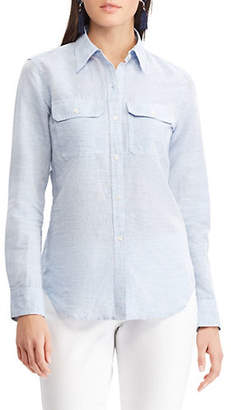 Chaps Petite Relaxed-Fit Long-Sleeve Button-Down Shirt