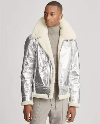Ralph Lauren Foil Leather-Shearling Jacket