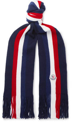 Moncler Striped Fringed Virgin Wool Scarf
