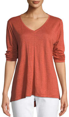 Eileen Fisher Organic Linen Jersey V-Neck Top, Plus Size