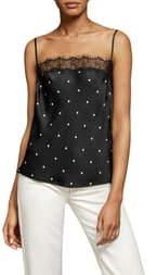 Anine Bing Monroe Lace Trim Silk Camisole