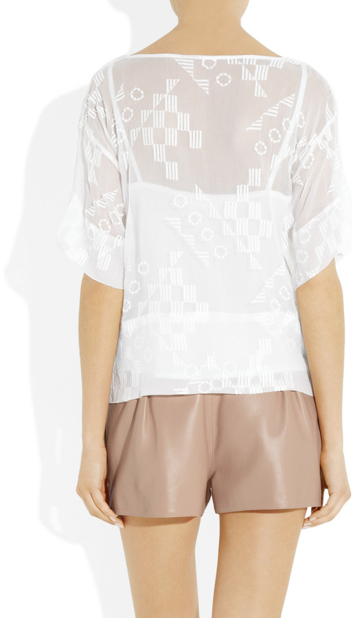 Kain Label Haines embroidered silk-chiffon top