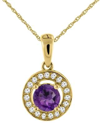 Sabrina Silver 14K Yellow Gold Natural Amethyst Necklace with Diamond Halo Round 5 mm