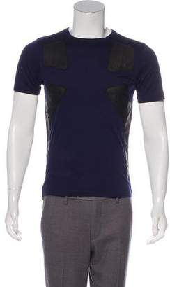 Tim Coppens Leather-Trimmed Crew Neck T-Shirt