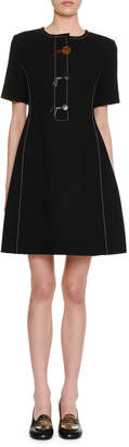 Marni Short-Sleeve 3-Button Fit-and-Flare Wool Crepe Dress
