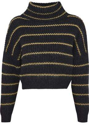Brunello Cucinelli Bead-Embellished Striped Cashmere Turtleneck Sweater