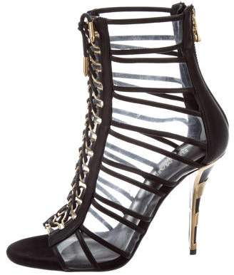Balmain Cutout PVC-Trimmed Sandals
