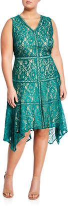 Taylor V-Neck Lace Fit-and-Flare Dress, Plus Size
