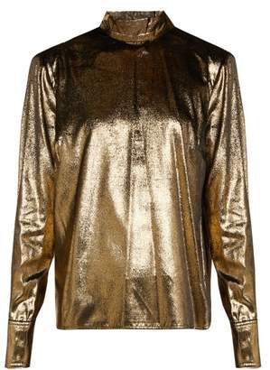 Frame Metallic Velvet Blouse - Womens - Gold