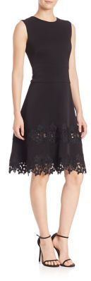 Shoshanna MIDNIGHT Floral Lace Fit-&-Flare Dress $560 thestylecure.com