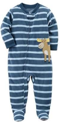 Carter's Little Boys Moose Footed Fleece Pajama Onesie (t)