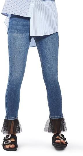 TopshopWomen's Topshop Jamie Tulle Hem Skinny Jeans