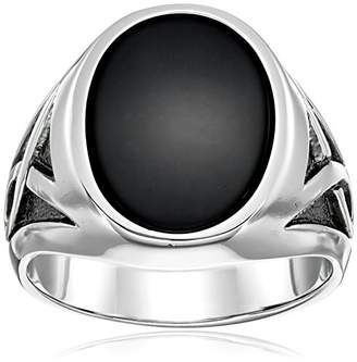 Men's Solid Sterling Silver Onyx Ring with Rhodium Infinity Detail Ring