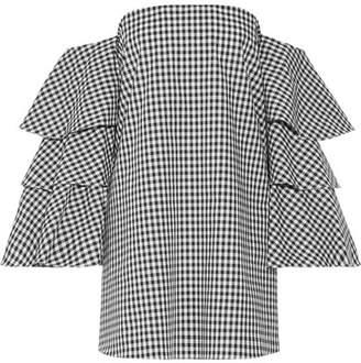 Caroline Constas Carmen Off-the-shoulder Gingham Cotton Mini Dress