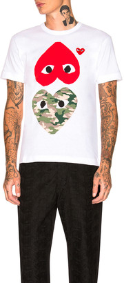 Comme des Garcons Camouflage Double Emblem Tee in White | FWRD