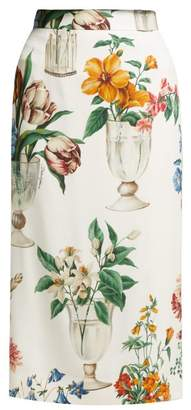 Dolce & Gabbana Floral And Vase Print Silk Blend Pencil Skirt - Womens - White Multi