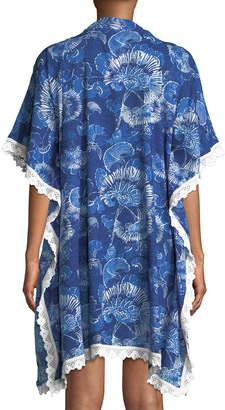 Nordic Pure Noosa Magnolia-Print Kaftan Dress w/ Lace Trim