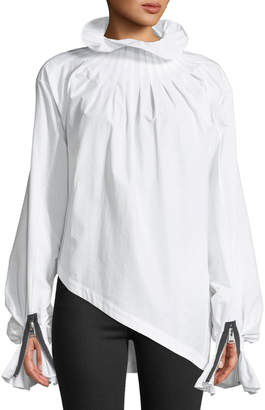 J.W.Anderson Pleated Turtleneck Asymmetric Blouse