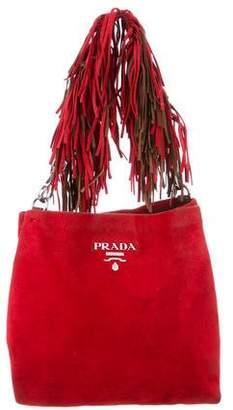 Prada Scamosciato Fringe Shoulder Bag