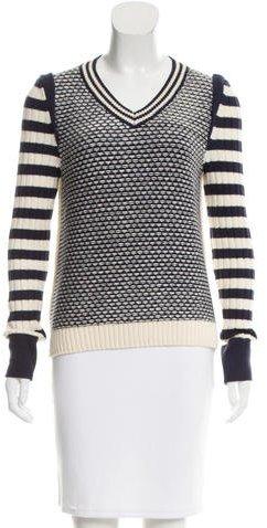 Tory BurchTory Burch Patterned V-Neck Sweater
